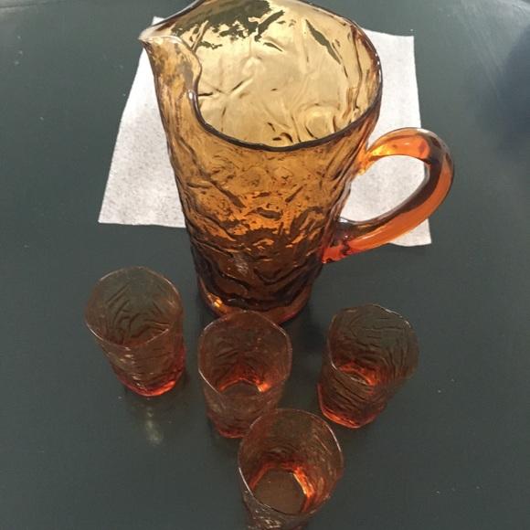 Seneca Amber glass pitcher and 4 juice glasses